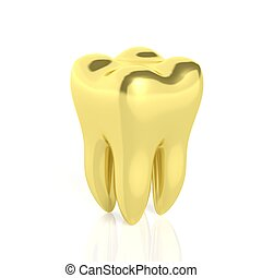 Molar golden tooth isolated on white background