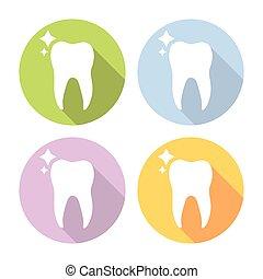 Molar Tooth Dental Flat Icons Set