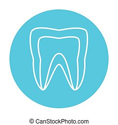 Molar tooth line icon.