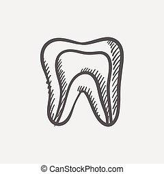 Molar tooth sketch icon