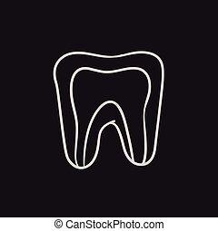 Molar tooth sketch icon.