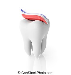 Molar tooth with toothpaste isolated on white