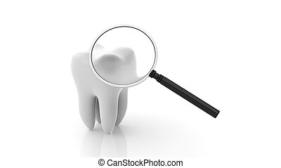 Molar with magnifying glass isolated on white background