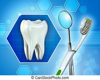 molare, dente, specchio, e, spazzolino