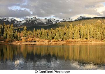 molas, lago, e, agulha, montanhas, weminuche, selva, colorado