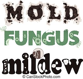 Mold, fungus and mildew. Decorative lettering, no...