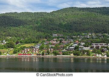 molde, ciudad, vistos, noruega, mar