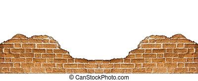 Molder brick wall on white background
