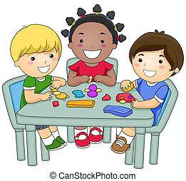 Molding Clay - A Small Group of Kids Creating Different...