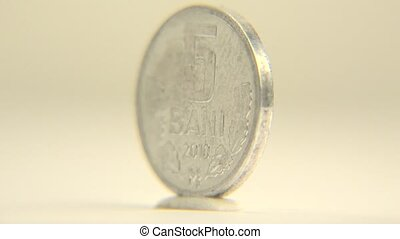 Moldova 5 Leu - This 5 Moldovan bani coin is isolated on...