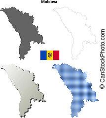 Moldova blank outline map set
