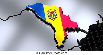 Moldova - country borders and flag - 3D illustration