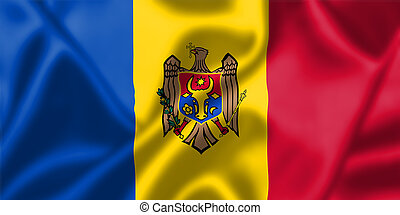 Moldova flag blowing in the wind. Background texture.