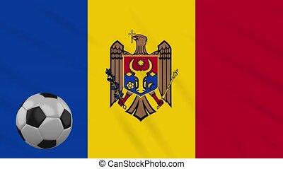Moldova flag waving and football rotates, loop - Moldova...
