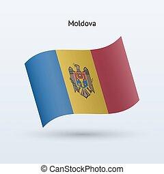 Moldova flag waving form. Vector illustration.