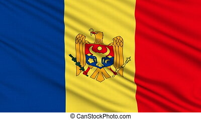 Moldova Flag, with real structure of a fabric