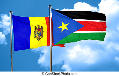 Moldova flag with South Sudan flag, 3D rendering