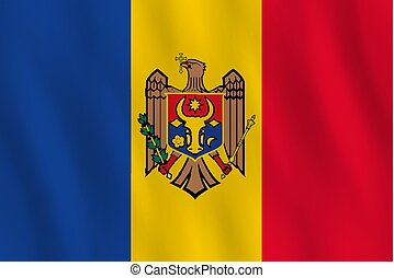 Moldova flag with waving effect, official proportion.