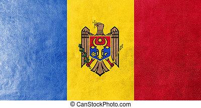 moldova flagga, målad, på, läder, struktur