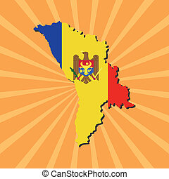 Moldova map flag on sunburst