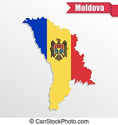 Moldova map with flag inside and ribbon