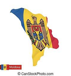 Moldova map with waving flag of Moldova.