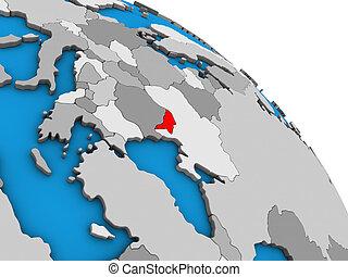 Moldova on 3D globe