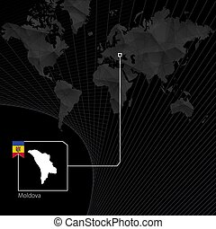 Moldova on black World Map. Map and flag of Moldova.