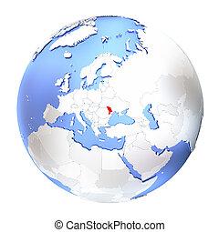 Moldova on metallic globe isolated