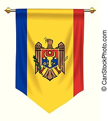 Moldova Pennant - Moldova flag or pennant isolated on white