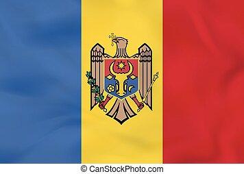 Moldova waving flag. Moldova national flag background texture.