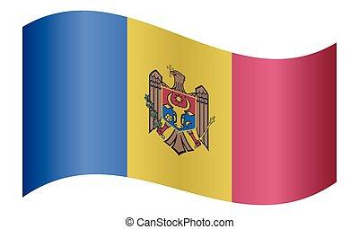Flag of Moldova waving on white background