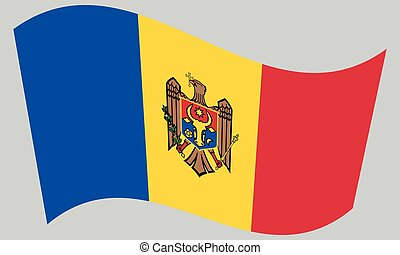 Flag of Moldova waving on gray background