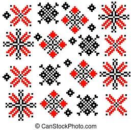 Moldovan Romanian ethnic ornament pattern set collection Vector