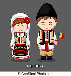 Moldovans in national dress with a flag.