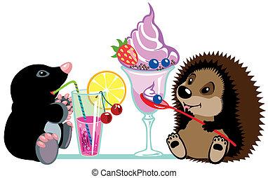 mole and hedgehog eating desserts - cartoon mole and ...