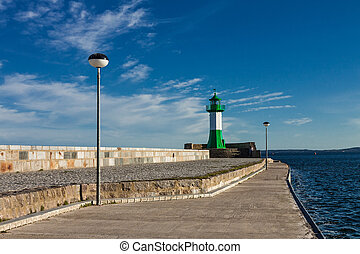 Mole with lighthouse in Sassnitz (Germany).