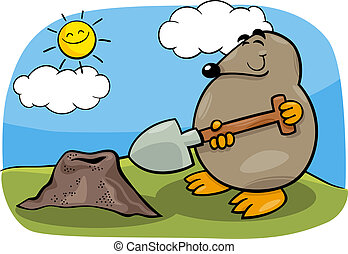 mole with shovel cartoon illustration - Cartoon Illustration...