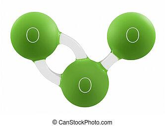 molecola, isolato, illustrazione, ozono, verde bianco, 3d