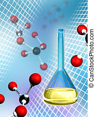 Molecular chemistry - Molecules and lab flask. Digital...