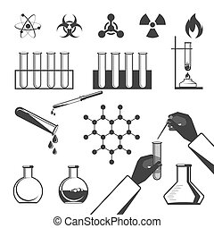 Molecular elements and test tube black icons collection on white