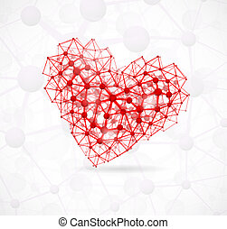 Image of the heart, consisting of molecular structure. Eps 10