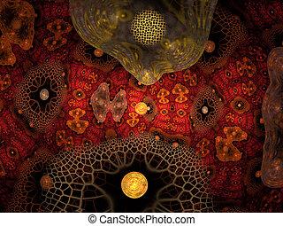 Molecular research. Nanotechnology medicine concept. Fractal art
