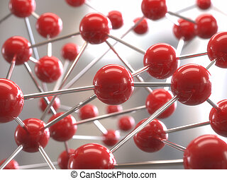 molecular structure - Molecular structure with red spheres ...