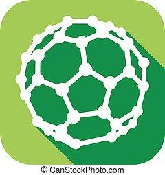 molecular structure of the C60 buckyball flat icon (nanostructure fullerene C60 sticks molecular model flat icon)