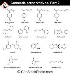 Molecular structures of main cosmetic preservatives, second...
