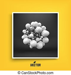 Molecule. 3D concept illustration. Textbook, booklet or notebook mockup. Business brochure. Cover design template. 3D vector illustration.