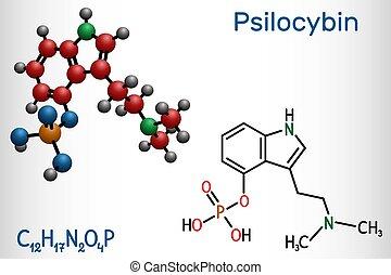 molecule., alkaloid, prodrug., 分子, それ, 化学物質, psilocybin, 方式,...