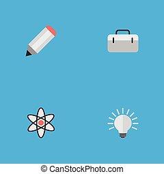 molecule, anderen, vector, pen, idee, icons., synonyms, communie, set, aktentas, pen., koffer, eenvoudig, opleiding, illustratie