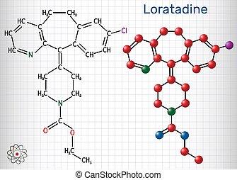 molecule., antihistamínico, jaula, papel, él, allergies., fórmula, utilizado, estructural, loratadine, c22h23cln2o2, químico, molécula, hoja, model., gusto